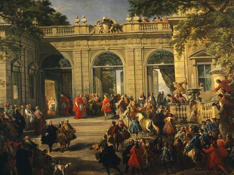 Charles III of Bourbon on Visit to Pope Benedict XIV in Coffee House of Quirinal Lámina giclée