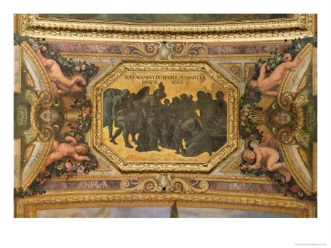Helping the People During the Famine of 1662, Ceiling Painting from the Galerie Des Glaces Impressão giclée