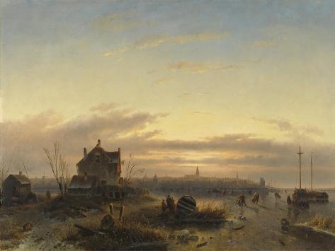 Winter Landscape with Amsterdam in the Distance Art Print