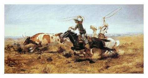 O. H. Cowboys Roping a Steer Art Print