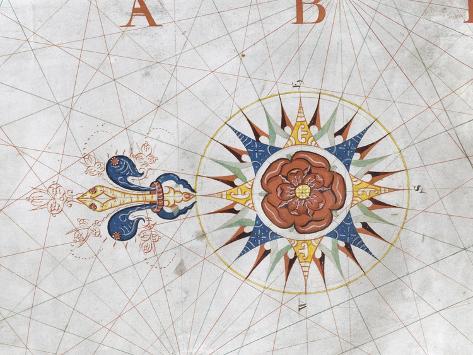 オールポスターズの charles massey compass rose from a portolan