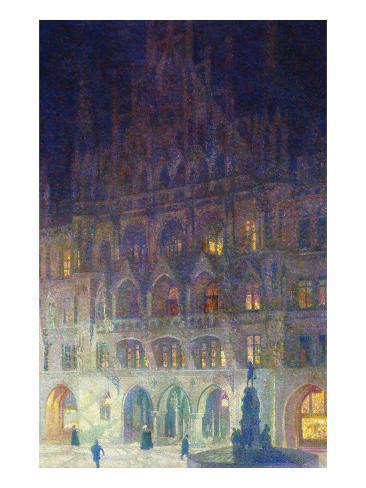 The Old Town Hall in Marienplatz, Munich; Altes Rathaus, Marienplatz, Munich Stretched Canvas Print