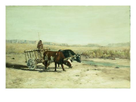 An Ox Cart in New Mexico Giclee Print