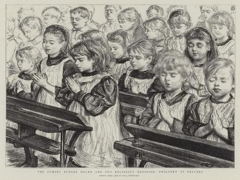 The Coming School Board and the Religious Question, Children at Prayers Lámina giclée