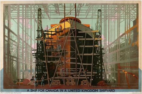 A Ship for Canada in a United Kingdom Shipyard Giclee Print