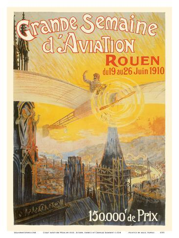 Great Aviation Week of 1910 - Rouen, France Stampa artistica