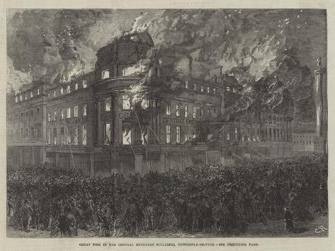Great Fire in the Central Exchange Buildings, Newcastle-On-Tyne Lámina giclée