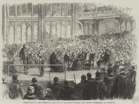 Presentation of the Freedom of the City to Lieutenant-General Lord Napier of Magdala, at Guildhall Lámina giclée