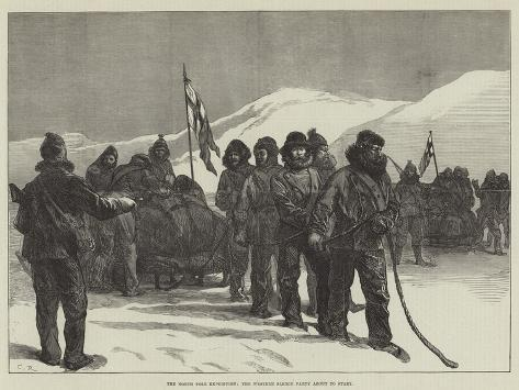 The North Pole Expedition, the Western Sledge Party About to Start Lámina giclée