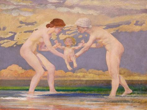 The Water's Edge: Two Women and a Baby Lámina giclée