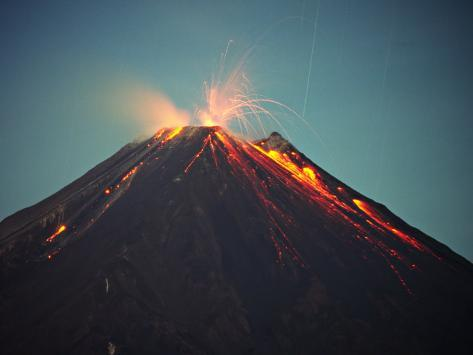 Arenal Volcano Erupting at Night, Costa Rica Photographic Print
