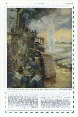Sailors on Board a British Monitor Off the Belgian Coast Stampa giclée