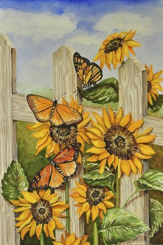 Painted Ladies and Morning Glories Giclee Print