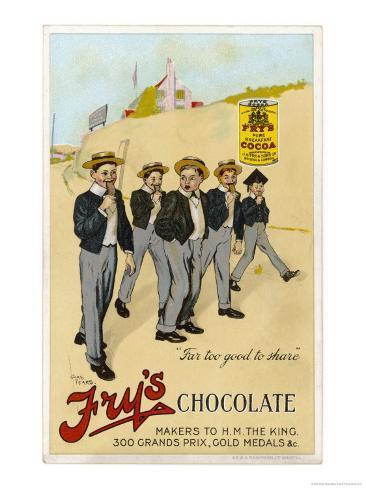 Four Public Schoolboys Enjoy Their Bars of Fry's Chocolate Giclee Print