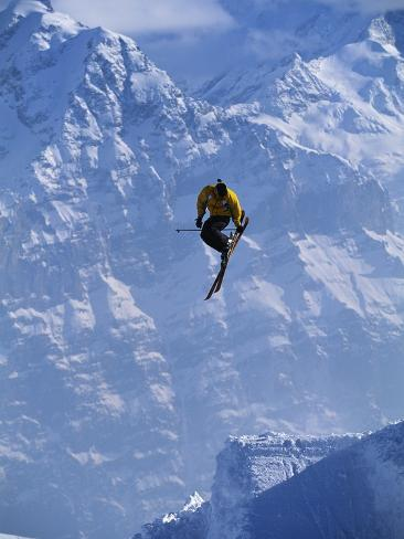 Skier Performing Tailgrab During Jump Stretched Canvas Print
