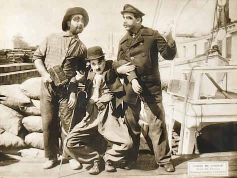 Chase Me Charlie, Charlie Chaplin on lobbycard, 1918 Art Print