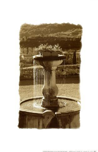 Fountain Overlooking City Art Print