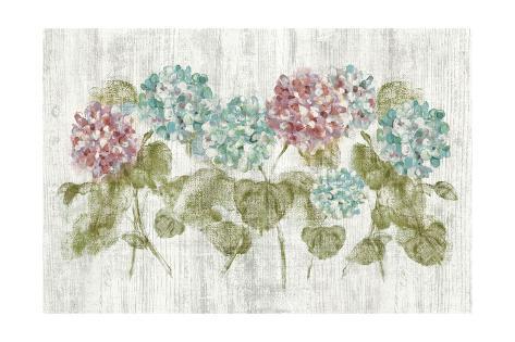 Vibrant Row of Hydrangea on Wood Art Print