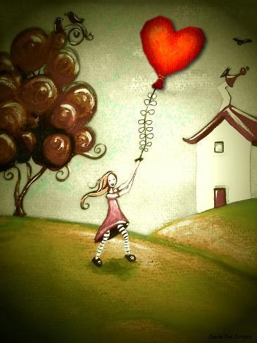 Girl Flying a Heart Balloon Giclee Print