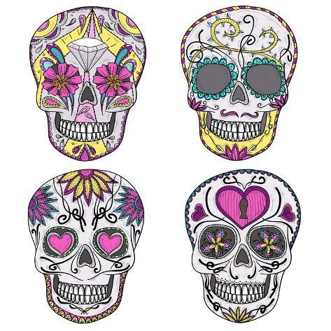 mexican skull set colorful skulls with flower and heart ornamens