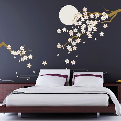 Cherry Blossom Under Moonlight Adesivo de parede