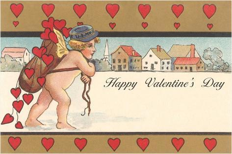 Cherub Mail Carrier Toting Valentines Lámina