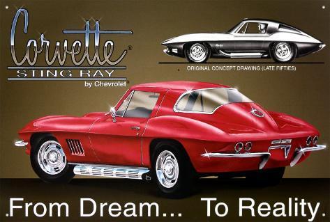 Chevy Corvette Stingray Tin Sign