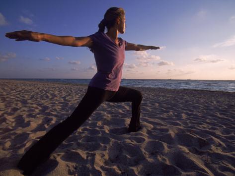 Woman Doing Yoga, Miami, FL Photographic Print