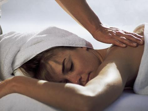 Woman Getting Massage at Health Spa Photographic Print