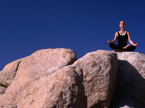 Yoga on the Rocks in the Joshua Tree National Park, California, USA Photographic Print