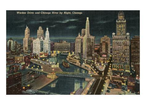 Chicago River at Wacker by Night, Chicago, Illinois Art Print