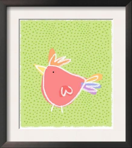 Chicken over Polka Dots Framed Art Print