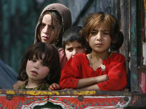 Children from Swat Arrive on a Truck at a Refugee Camp in Mardan, Northwest Pakistan Photographic Print