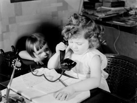 Children Phoning Photographic Print