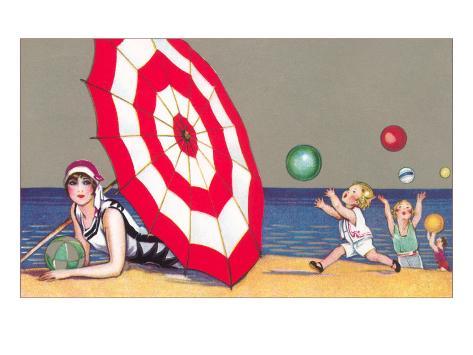 Children Playing and Woman under Umbrella Art Print