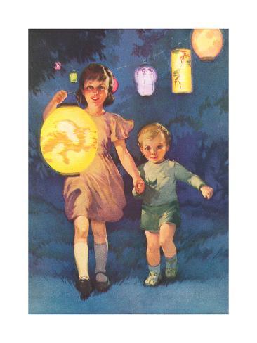 Children with Chinese Lantern Stampa artistica