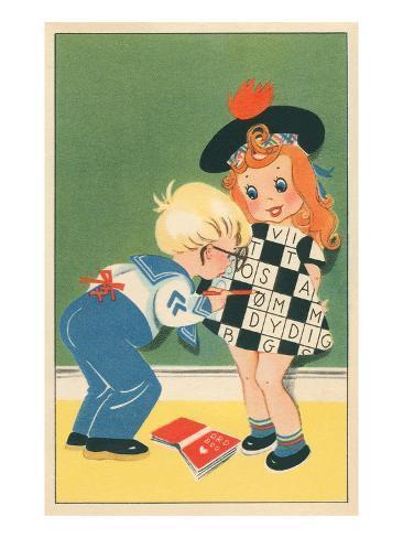 Children with Scrabble Dress Premium Giclee Print