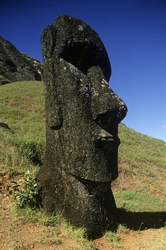 Chile, Easter Island, Rapa-Nui National Park, Rano Raraku, Anthropomorphic 'Moai' Monoliths Giclee Print