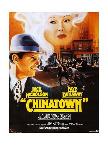 Chinatown, French Poster Art, Jack Nicholson, Faye Dunaway, 1974 Lámina giclée