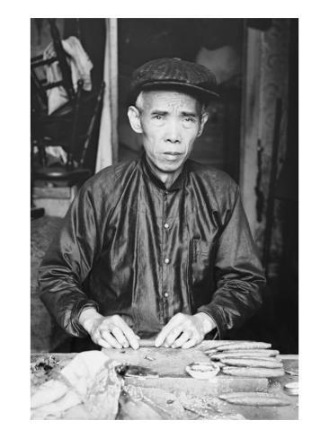 Chinese Cigar Maker In Native Costume Stretched Canvas Print