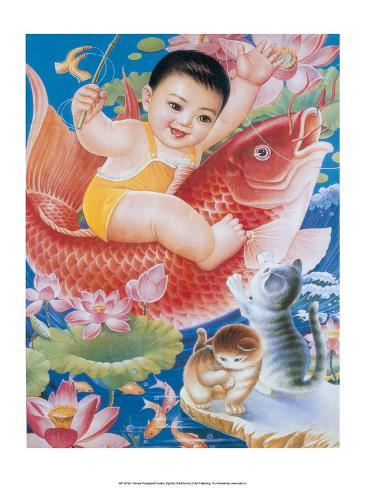 Chinese Happy New Year Baby Riding Lucky Fish Stampa artistica