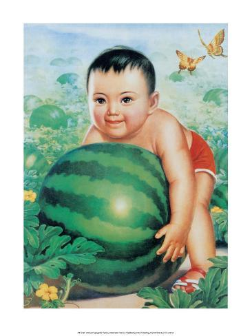 Chinese New Year Poster Baby with Huge Watermelon Stampa artistica