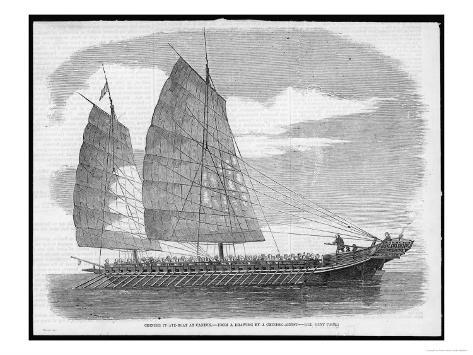 Chinese Pirate-Boat at Canton Carrying a Small Army of Ruffians Stampa giclée