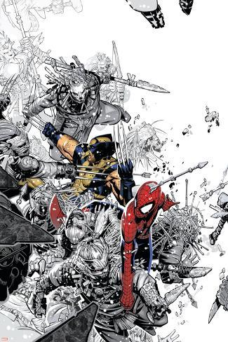 The Amazing Spider-Man No.555 Cover: Spider-Man and Wolverine Poster