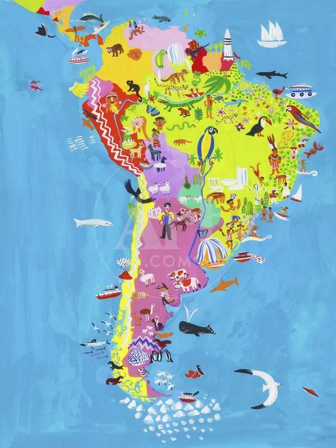 Illustrated Map of Central and South America Print by Chris Corr at ...