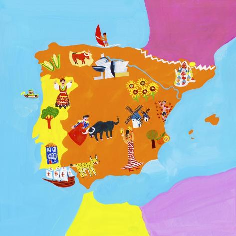 Map Of Portugal Spain.Illustrated Map Of Spain And Portugal Posters By Chris Corr At