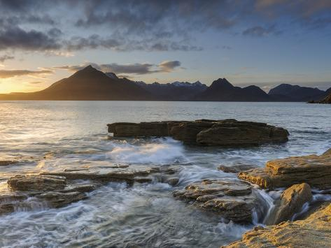 Sunset at Elgol Beach on Loch Scavaig, Cuillin Mountains, Isle of Skye, Scotland Photographic Print