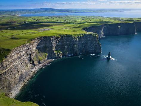 Aerial View of the Cliffs of Moher on the West Coast of Ireland Photographic Print