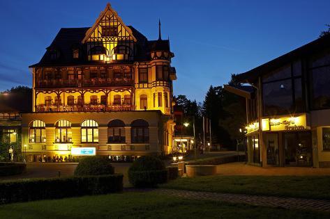 Germany, Lower Saxony, Harz, Bad Sachsa, Best Western Hotel, Evening Photographic Print