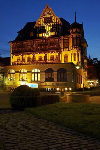 Germany, Lower Saxony, Harz, Bad Sachsa, Best Western Hotel, Evening Photographic Print